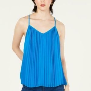 Bar III Top Blouse Pleated Racerback Strappy Sz M